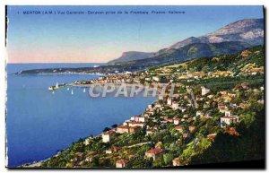 Old Postcard Menton Garavan Taking Vue Generale De La Frontiere Franco Italian