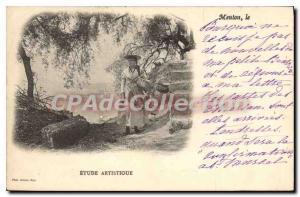 Old Postcard Menton artistic study
