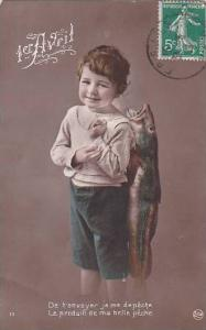 1er Avril April Fool's Day Boy Carrying Fish 1913