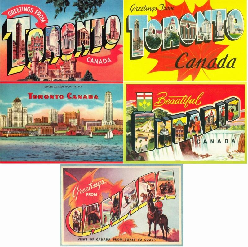 Greetings from Toronto Ontario Canada Lot of 5 Large Letter Repro Postcards