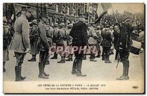 Old Postcard The Holidays Victory in Paris Marechaux petain Foch Joffre Army