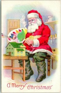 CHRISTMAS Postcard SANTA CLAUS in Workshop, Painting Doll House STECHER 1553C