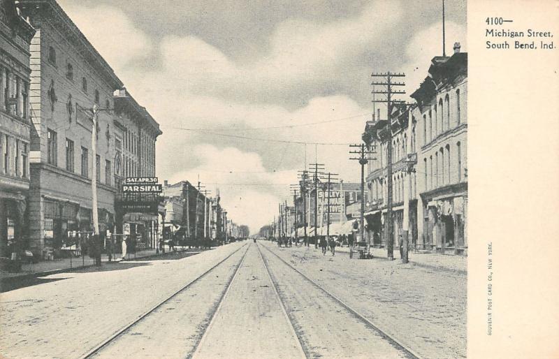South Bend Indiana~Michigan Street~Parsifal Opera April 30~Sibleys Hardware~1905