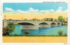 Logansport Indiana~Cicotte Street Bridge~1950 Postcard