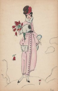 ART DECO ; Female wearing pink coat with white fur trimming, hand muff, 1910-20s