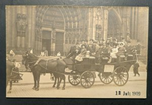 Mint Vintage German Horse and Carriage in Front of Cathedral RPPC Postcard