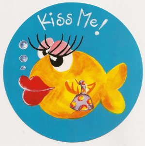 Round Postcard - Kiss Me with Fish - 1995