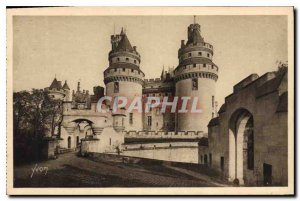 Old Postcard Chateau de Pierrefonds Oise L'Entree du Chateau and Charlemagne ...