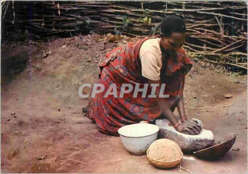 Modern Postcard Color of Burundi the Grinding of the Sorghum Woman