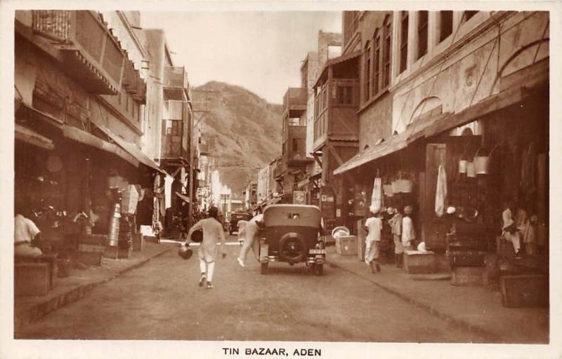 Yemen Aden Tin Bazaar Old Auto Cars, Commerce, Market Street