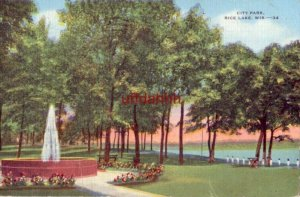 CITY PARK RICE LAKE, WI 1950 A FAVORITE SPOT FOR PICNICKERS