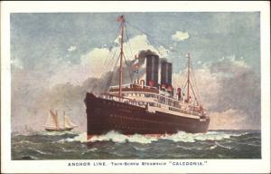 Anchor Line Steamship Caledonia c1915 Unused Postcard