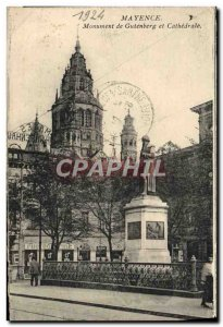 Old Postcard From Gutenberg Monument Mainz Cathedral and post Stamp Armed wit...