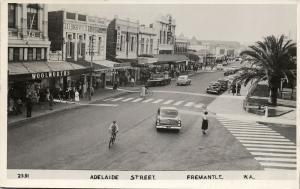 australia, FREMANTLE, W.A., Adelaide Street, Cars (1958) RPPC Postcard
