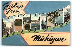 Postcard MI Muskegon Large Letter Greetings from Muskegon Michigan