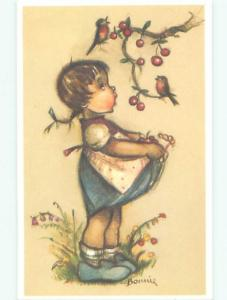 foreign Pre-1980 signed GIRL COLLECT CHERRIES FROM THE TREE AC6799