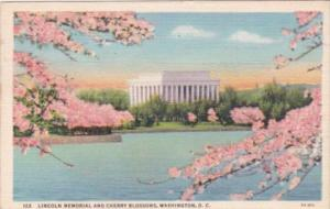 Flowers Lincoln Memorial and Cherry Blossoms Washington D C 1940 Curteich