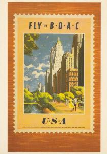 Fly By BOAC Airways To The USA Plane Travel Poster Advertising Postcard