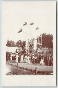 RPPC Little Ferris Wheel & Riders~Follies~Theatre: First Time in America~c1910