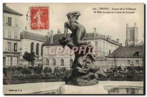 Troyes Old Postcard The abduction by Suchetet square of the Prefecture