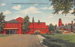 Cranbrook School, Bloomfield Hills, Michigan, Early Linen Postcard, Unused