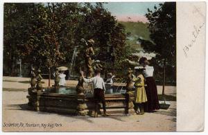 1907 Scranton PA Fountain Nay Aug Park Family Children Lackawanna Co DB Postcard