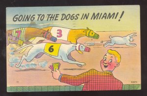 GOINT TO THE DOGS IN MIAMI FLORIDA DOG RACING VINTAGE COMIC POSTCARD