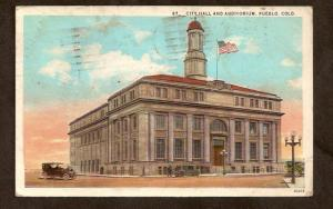 POSTCARD-VINTAGE - City Hall & Auditorium - Pueblo, CO