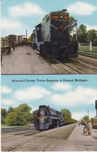 DURAND, Michigan, 1900-1910s; 2-Views, Montreal-Chicago Trains Stopping At Du...