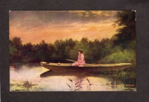 Down on the Suwanuee River Boat Kenyon Artist Sighned Painting Postcard Suwannee