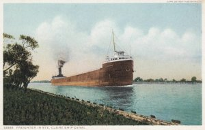 MICHIGAN, 1900-10s; Freighter in Ste. Claire Ship Canal