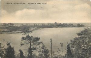 Sachems Head Connecticut~Harbor Homes on Hilltop~Shoreline~1940s Sepia PC
