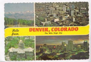 Hello from DENVER, COLORADO, The Mile High City, used Postcard
