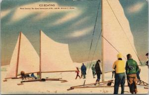 Ice Boating Winter Sails Game Commission PA Penn c1948 Linen Postcard F1