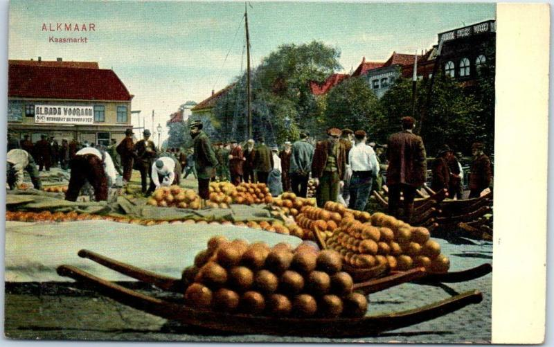 1910s ALKMAAR Netherlands Holland Postcard KAASMARKT Cheese Market Scene Unused