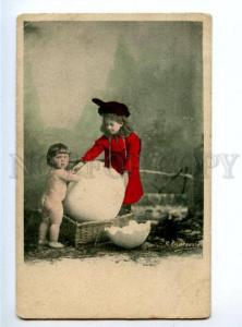 156307 Baby in EGG as Chicken & Girl in Red Vintage PHOTO