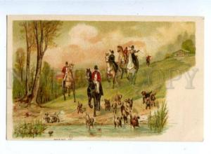 159603 Fox Hunt POINTER Hunter HORSES Vintage Color Litho PÑ