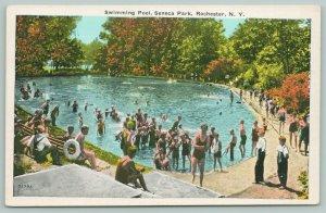 Rochester New York~Seneca Park Swimming Pool Crowd~Beach Bums~Boys in Bibs~1920s