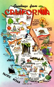 Map Of California With Greetings