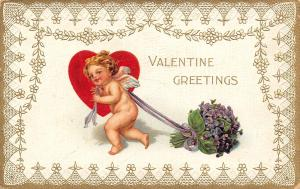 Valentine~Cherub Cupid Pulls African Violet Bouquet on Ribbons~Gold & White Lace