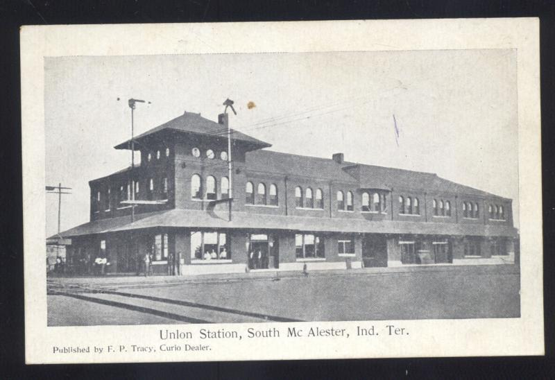 MCALESTER INDIAN TERRITORY OKLAHOMA RAILROAD DEPOT TRAIN STATION POSTCARD