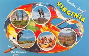 Greetings From Virginia Palette Series~Monument~Sailor w/9 Bathing Beauties~1963