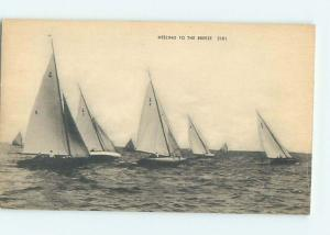 Unused Divided-Back LOTS OF SAILBOAT BOATS - PUBLISHED IN BOSTON MA o7742