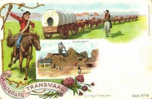 south africa, TRANSVAAL Ausstellung, Gold Mine, Boer Ox Cart (1897) Expo
