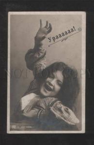 071763 Funny Shaggy Girl w/ LONG HAIR vintage PHOTO