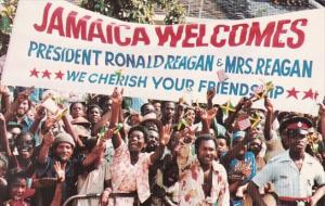Jamaica Crowd Welcoming President Ronald Reagan and Mrs Reagan 1982