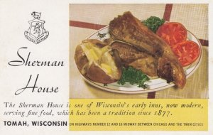 TOMAH , Wisconsin , 50-60s ; Sherman House Restaurant Meal