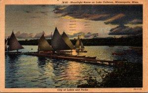 Minnesota Minneapolis Moonlight Scene On Lake Calhoun 1952 Curteich
