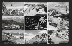 Grüß vom Zugspitze multi-view RPPC fancy cancel used c1956