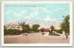 Hutchinson Kansas~Crescent Park Addition Entrance~Housing Development~1920s Cars